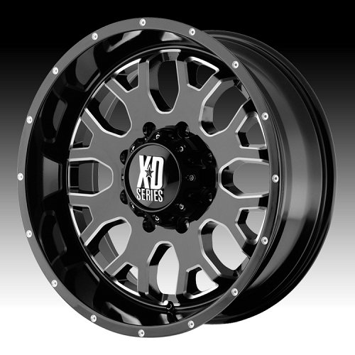 KMC XD Series XD808 Menace Gloss Black Milled Custom Wheels Rims 1