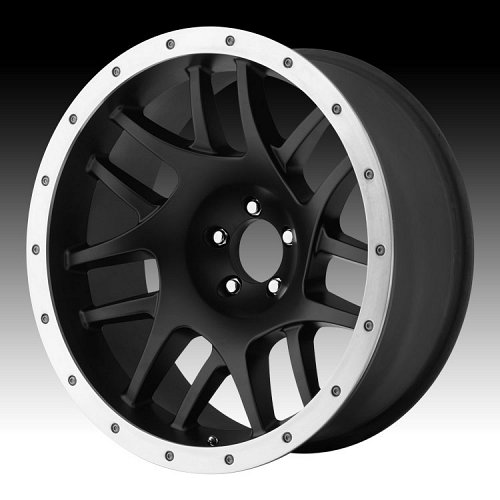KMC XD Series XD123 Bully Satin Black w/ Alum Ring Custom Wheels Rims 1
